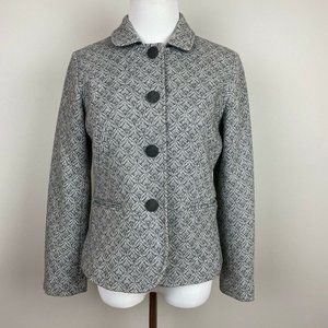 Talbots 6P Blazer Coat Gray White Geometric Wool